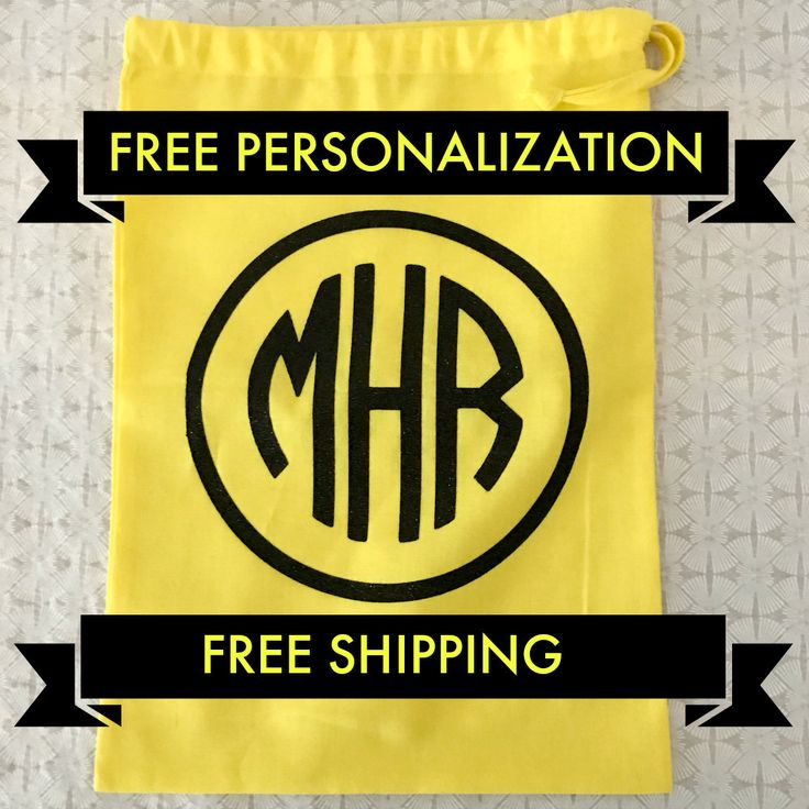 Monogram Gift Bag, Custom Monogram Shoe Bag, Custom made for you, Ships fast and free, Ideal Christmas Gift by weheartcards on Etsy