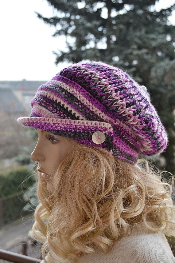 Knitting Pattern For Peaked Beanie : Crocheted,knitted beanie Slouchy Hat PEAKED CAP Winter ...