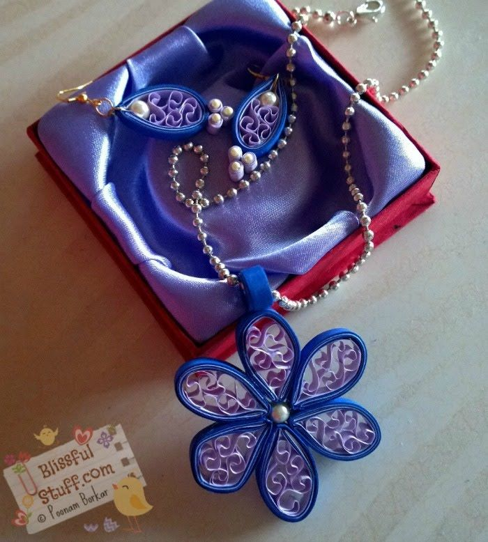 DIY - How to make Quilled Paper Necklace and earrings, Easy Beehive Flow...