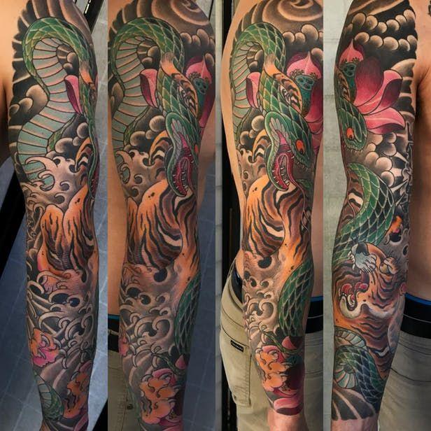 Tiger Snake Sleeve Sandiego California Tattoo Artists Tattoos Book Tattoo