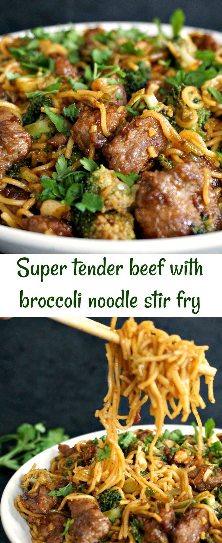 Super tender beef with broccolli noodle stir fry, a complete meal in just 15 minutes (apart from marinating). Chinese food at its finest!