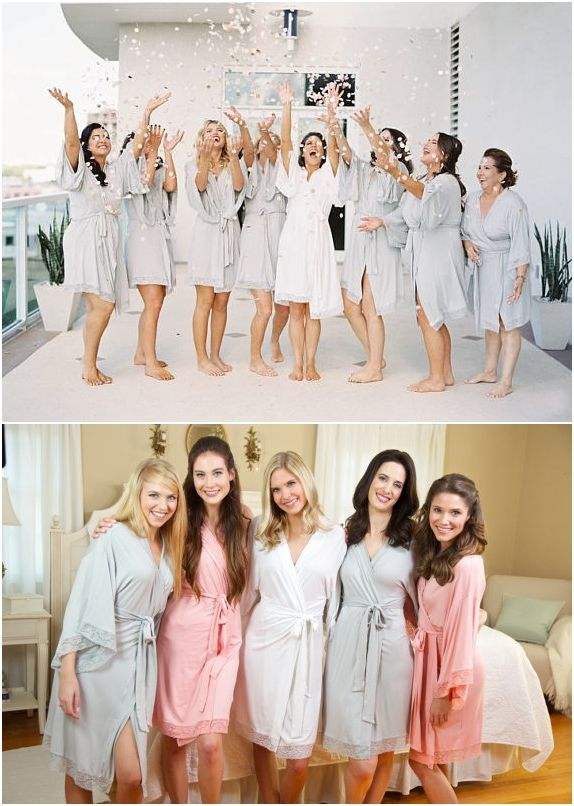 Bridesmaid Robe | Getting Ready Robes | Bridesmaid Gifts 2017 | Lace Knit Robes | Gray Jersey Robes | Bridesmaid Gift | Knit Robe