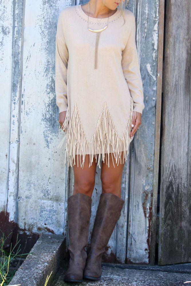 Boho Breeze Oatmeal Long Sleeve Sweater Dress With Fringe Details