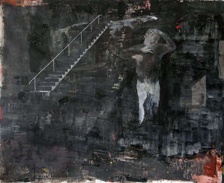 Bogdan Vladuta, Man imitating Van Gogh, 2013 oil on canvas 80.7 x 100.4 in (205 x 255 cm)