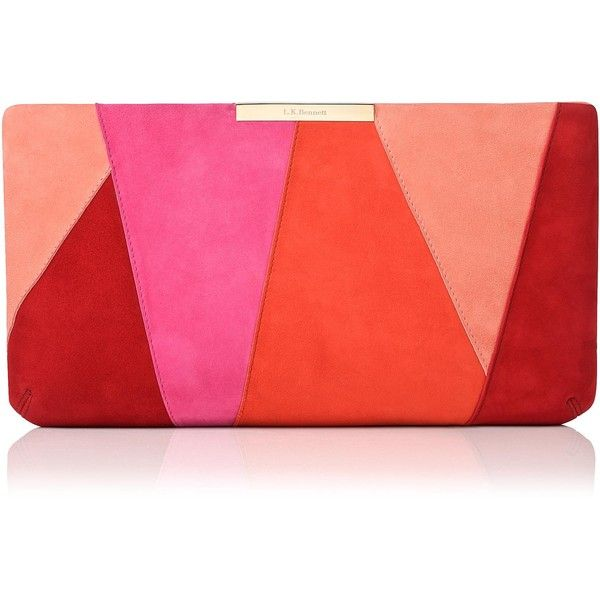 L K Bennett Flora Pink Suede Patchwork Clutch 325 Liked On Polyvore Featuring Bags Handbags Clutches Sued