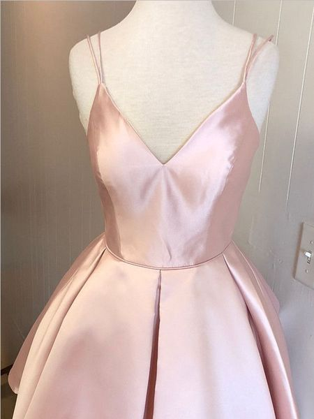 Simple V Neck Spaghetti Strap Pink A Line Mini Short Homecoming Dress, BTW138 Simple V Neck Spaghetti Strap Pink A Line Mini Short Homecoming Dress, BTW138