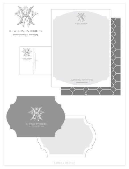 Branding for Kasey Willis Interiors #logos #monogram #grey www.emmajdesign.com