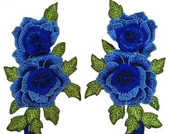 Diepe blauwe rozen bloemen borduurwerk stoffen paar Set van weefsel Patches - meer kleuren - naai - Patches voor jassen - geborduurde Patch-