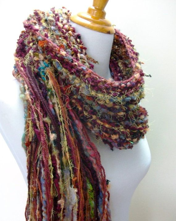 Merlot Hand Knit Scarf Wine and Copper Hues Hand Spun by Fanchi, $36.00