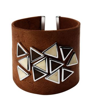Thick Leather Bracelet Wooden & Bone Triangles