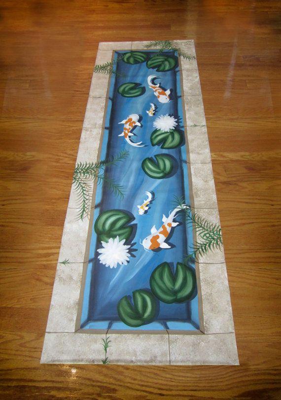 Koi Fish Pond Floorcloth Runner By Kellygoodbrad On Etsy