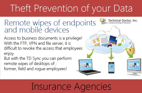 To boost Insurance agencies with network by remote wipes of endpoints and mobile devices.