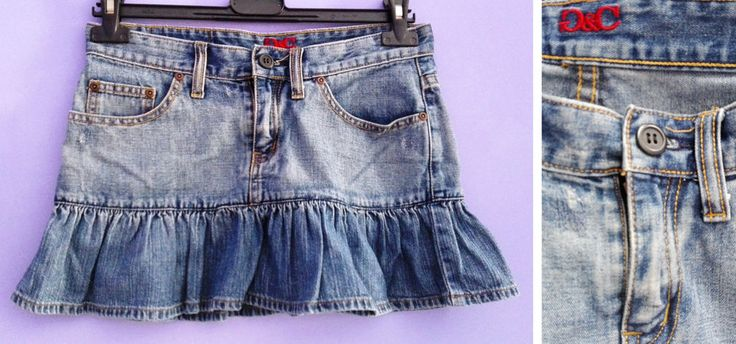 MINI GONNA DENIM cotone xs G&C jeans orlo balza tasche passanti donna ragazza