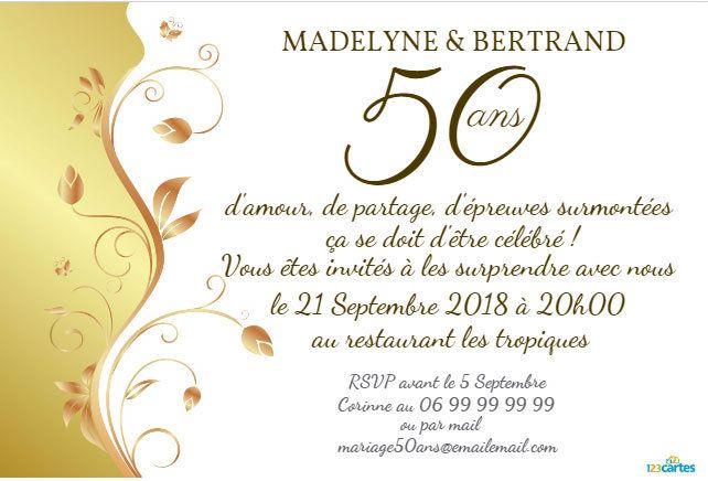 Invitation anniversaire plante d'or gratuite à personnaliser en ligne et à télécharger idéale pour célébrer les noces d'or.