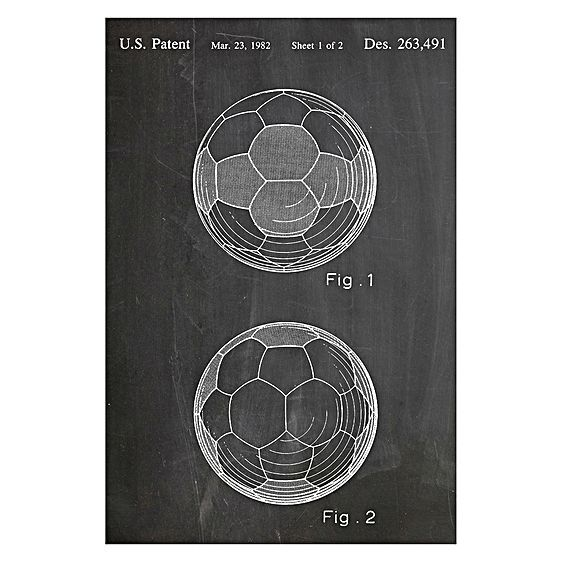 With retro geometric designs, the Soccer Ball 1982 Patent Print Art from Americanflat gives a bold sporty-cool look to your walls.