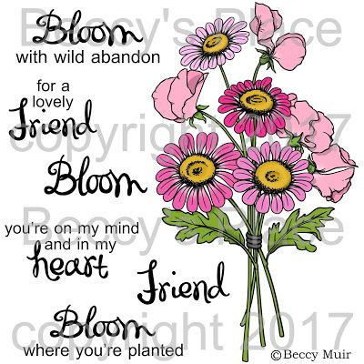 Beccy's Place - Wildflowers digital stamp set