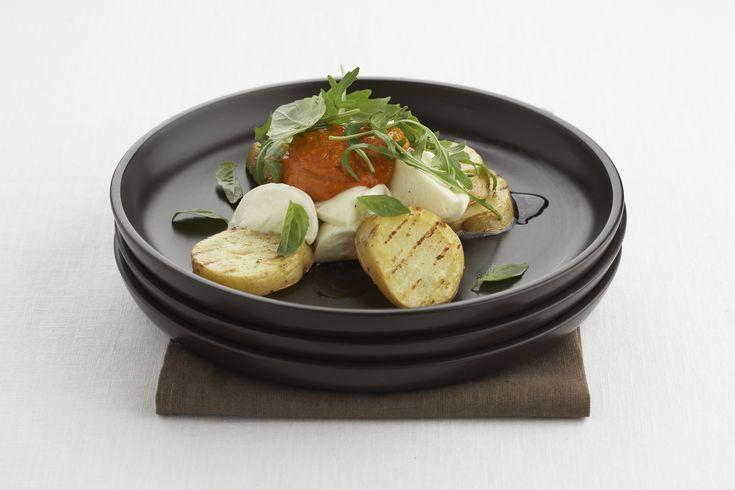 Aardappeltjes met mozzarella en tomatenpistou