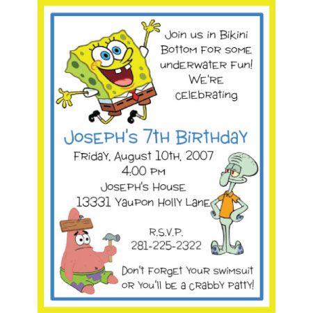 spongebob birthday invitation, Sponge Bob birthday invitation