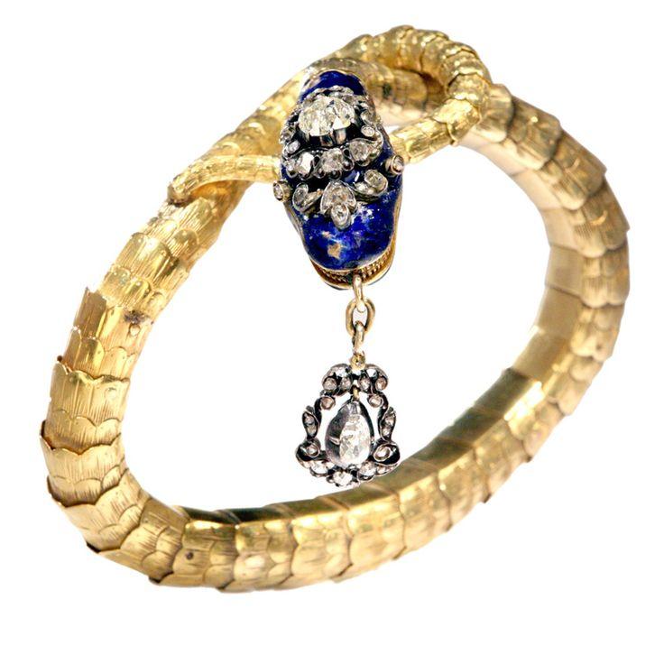 Victorian Gold Snake Bracelet | From a unique collection of vintage clamper bracelets at https://www.1stdibs.com/jewelry/bracelets/clamper-bracelets/