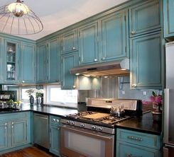 Soapstone Countertops Blue Cabinets Stainless Appliances And Antiqued Mirror Backsplash By Brunelleschi Construction Cousins On Call