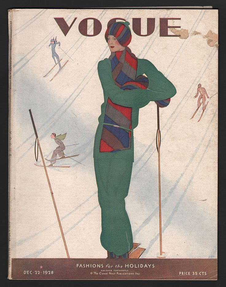 Vogue : Fashions for the holidays. December 22, 1928. Cover design by Jean Pages