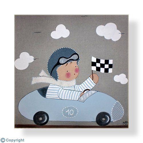 Cuadro infantil personalizado: Niño piloto de carreras (ref. 12015-02)