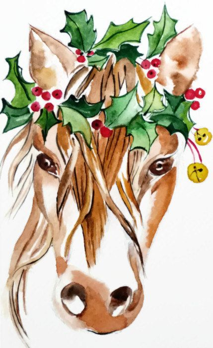 Printed Watercolor Christmas Card  Horse by greetingcardsforYou, $5.50