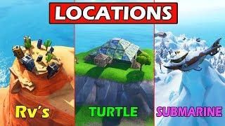 dance on top of a crown of rv s metal turtle submarine locations guide fortnite challenges - where is the metal turtle in fortnite map