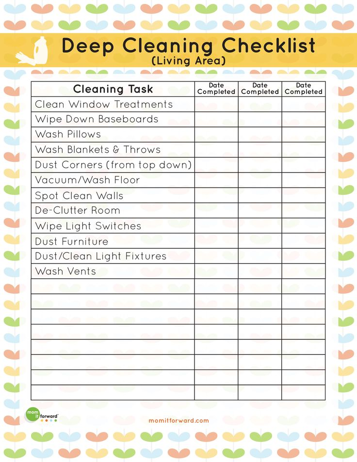 Printable: Living Area Deep Cleaning Checklist