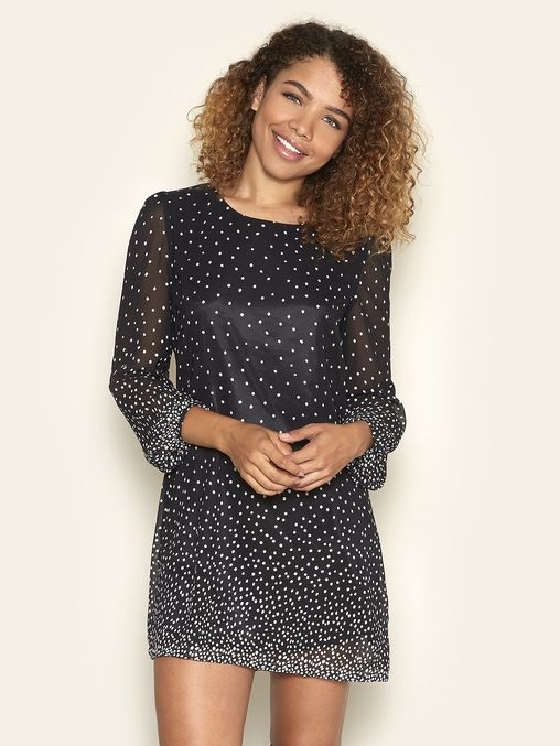Polka Dot Tunic Dress Black | Yumi