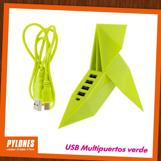 USB Multipuertos verde. @pylonesco #pylonesco