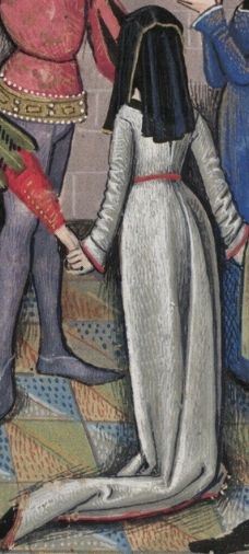 """""""Transition"""" gowns. They occupy a short period between the late 15th century Burgundian gowns with the deep V necks and wide belt, and the incoming 16th century Tudor fashions. Back of gown – appears to have gores for fullness – no waist seam or pleating at the waist like later versions. Worn here with Beggins (headress). Detail from a version of Roman de la Rose, Bodleian Library, MS Douce 195 pg 18 by Guillaume de Lorris and Jean de Meung, French, late  15th century."""
