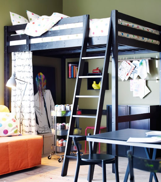 Stor loft bed frame in black with ikea ps 2012 bed linen for Teenage bunk beds ikea