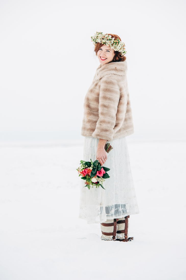 Vintage Inspired Gown and Faux Fur Coat | Wild Hare Flowers | April Cornell | Paul Reynolds Photography https://www.theknot.com/marketplace/paul-reynolds-photography-burlington-vt-526044