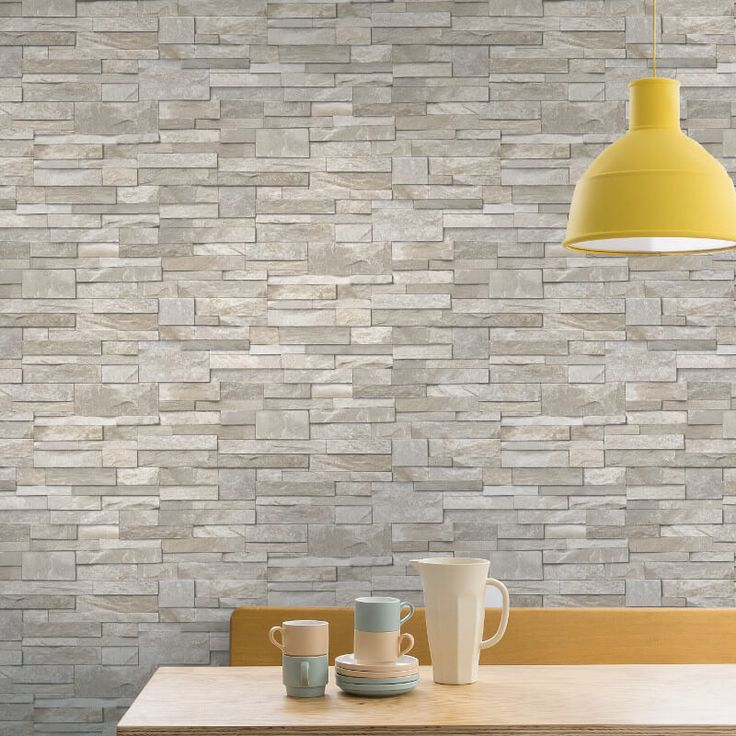 This Grandeco stone brick effect wallpaper is perfect for use in kitchen or bathroom. Stone brick effect wallpaper is available from Go Wallpaper UK