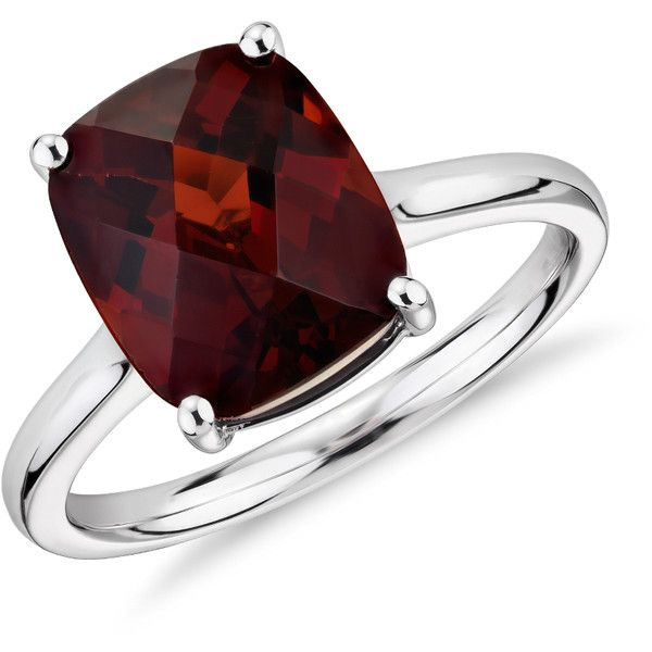 Blue Nile Garnet Cushion Cut Ring ($440) ❤ liked on Polyvore featuring jewelry, rings, accessories, anéis, 14 karat gold jewelry, 14k ring, garnet jewelry, blue nile rings and 14 karat gold ring