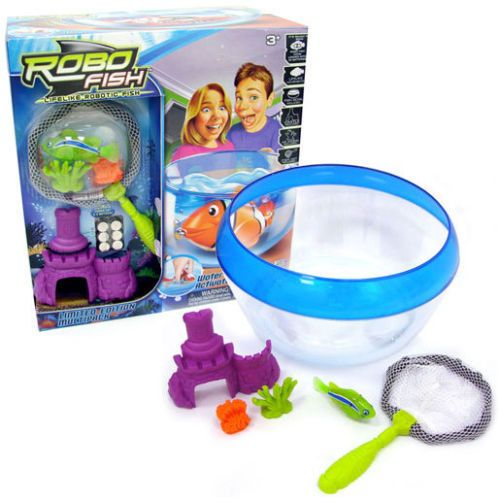 Robo Fish Limited Edition Bowl' Net, Castle, Reefs and Fish Set - GREEN FISH