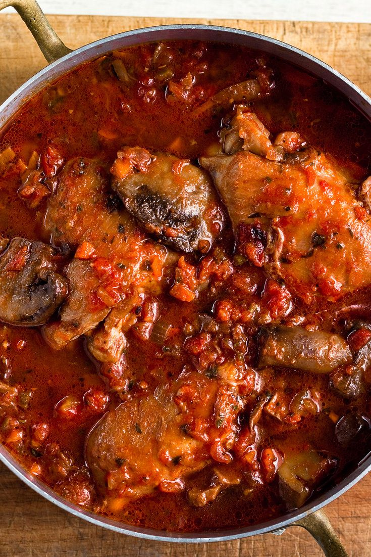 (Swap broth for wine) Chicken Cacciatore: This classic Italian dish must have hundreds of versions, all resulting in a rustic braise of chicken, aromatic vegetables and tomatoes. This version includes lots of mushrooms, both dried and fresh. You can add kale to the dish if you want to work in some leafy greens.