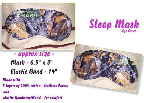 SLEEP MASK eye cover CAMOUFLAGE real tree  / travel mask