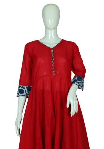 Red Cotton Anarkali with Blue Blockprinted Border – Desically Ethnic