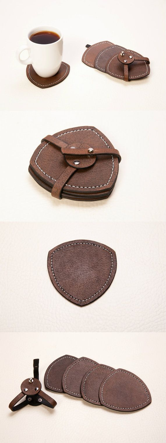 leather coasters. Set of triangle hand tooled by CaymanLeather