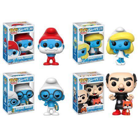 Funko POP! Animation Smurfs; Papa Smurf, Smurfette, Brainy Smurf, Gargamel(with Azrael)