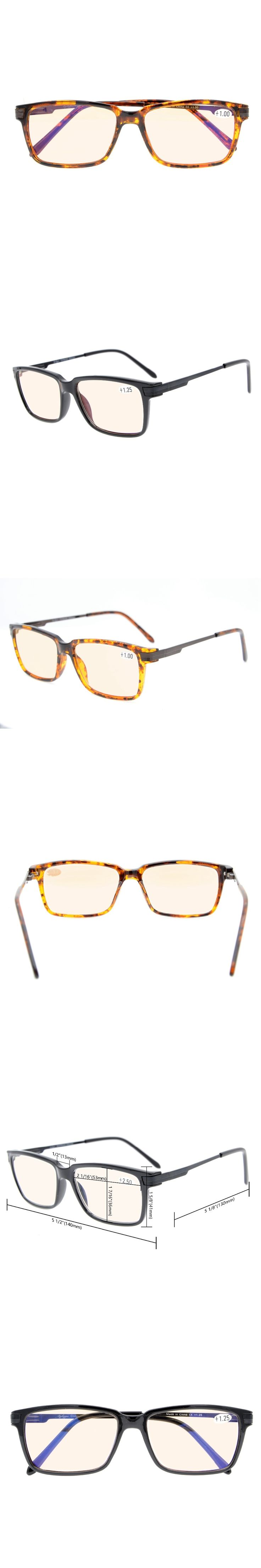 CGTR011 Eyekepper Amber Tinted Lenses Computer Readers Quality TR90 Frame Classic Spring Hinges Computer Reading Glasses