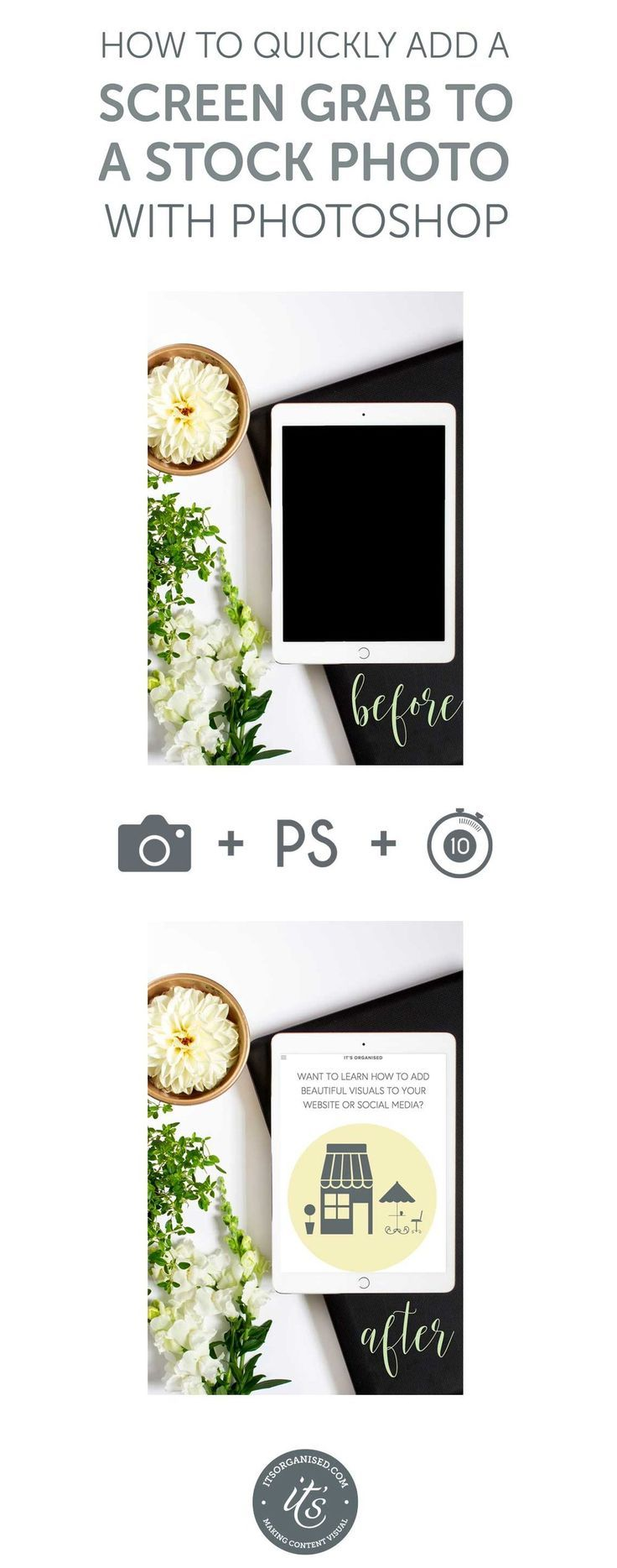 How to quickly add a screen grab to a stock photo using Photoshop. This video tutorial will show you how to draw a clipping mask to suit the computer/tablet/phone you are trying to add the screen grab too. You can then quickly clip your screen grab to this clipping mask to create a customised stock photo. itsorganised.com video tutorial
