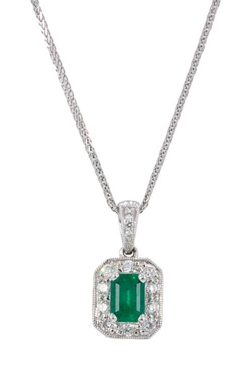 This simple and elegant pendant is perfect for the May baby in your life. This emerald cut, 0.60ct emerald is a beauty. This gorgeous 18k white gold piece, accented by 0.24cts of diamonds would sparkle around her neck all year round. www.gembycarati.com www.facebook.com/gembycarati