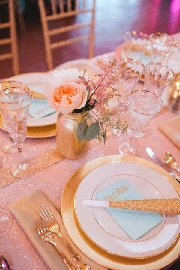 gold painted mason jars + soft peach flowers