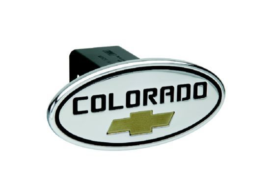 Chevy - Colorado - Black w/ Gold Bowtie - Oval - 2 Inch Billet Hitch Cover - Billet Hitch Cover designed to hide that ugly hitch receiver when not in use. The Hitch cover is made of the best quality T-6061 Billet Aluminum. It is available in many colors and options. Sport your manufacturers colors and proudly display your vehicles pride with the stylish Defenderworx Hitch Cover today!. Automotive > Towing. Weight: 2.00