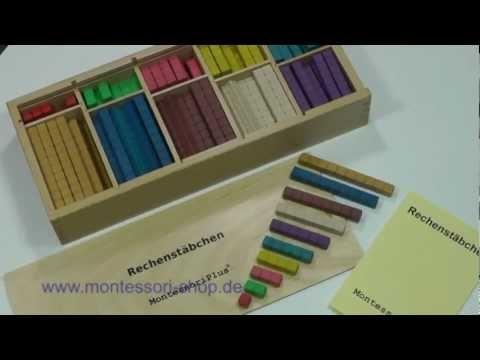 Mit den Montessori Rechenstäbchen http://www.montessori-shop.de/material/montessori-rechenstaeb-623.php nach Maria Montessori, können Additions- und Subtraktionsaufgaben spielend leicht gelöst werden. Das 1x1 geht mit den Rechenstäbchen in Fleisch und Blut über.