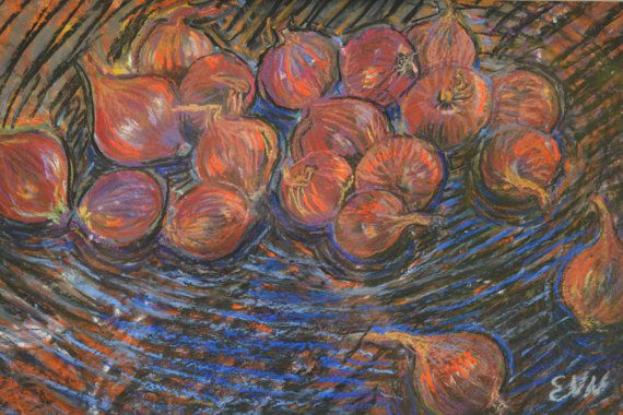 original painting / oil pastel / shallots / food by NielsenDenmark