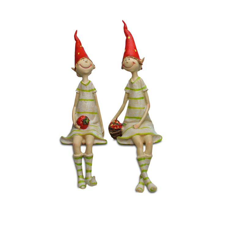 Two Strawberry Sitting Pixies Resin Pixie Garden Ornament Smiling Figurines #Gardens2you